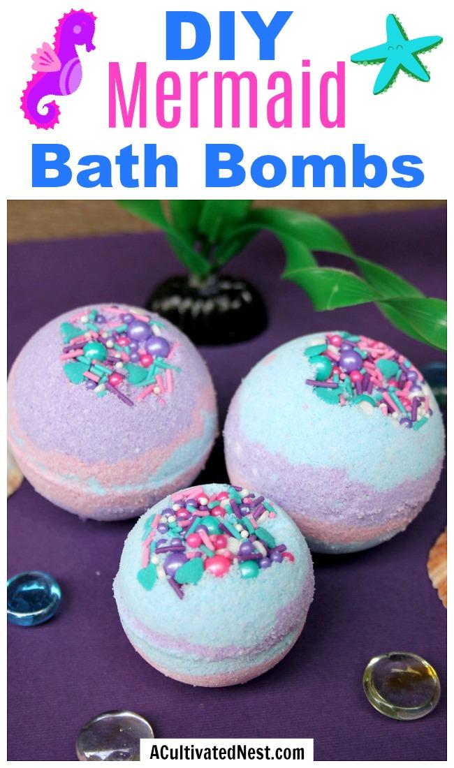 DIY Mermaid Bath Bombs- These DIY mermaid bath bombs have fun colors and make great bubbles! These homemade bath bombs also make great DIY gifts! | DIY bath bombs with a mermaid theme, ocean theme, sea theme, aquatic theme, #DIY #bathBomb #beauty #craft #homemade #diyGift #homemadeGift #mermaid #ACultivatedNest