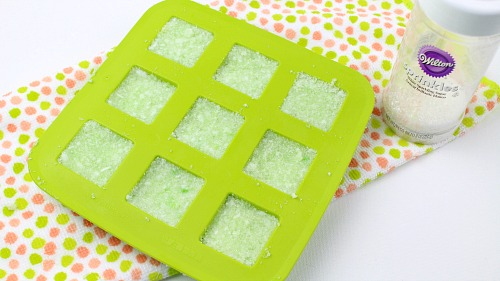 DIY Sugar Scrub Squares: Key Lime- In silicone cube mold. | sugar scrub bars, homemade body scrub, exfoliate, exfoliating, #bodyScrub #DIY #sugarScrub #beauty #diyGift #homemadeGift