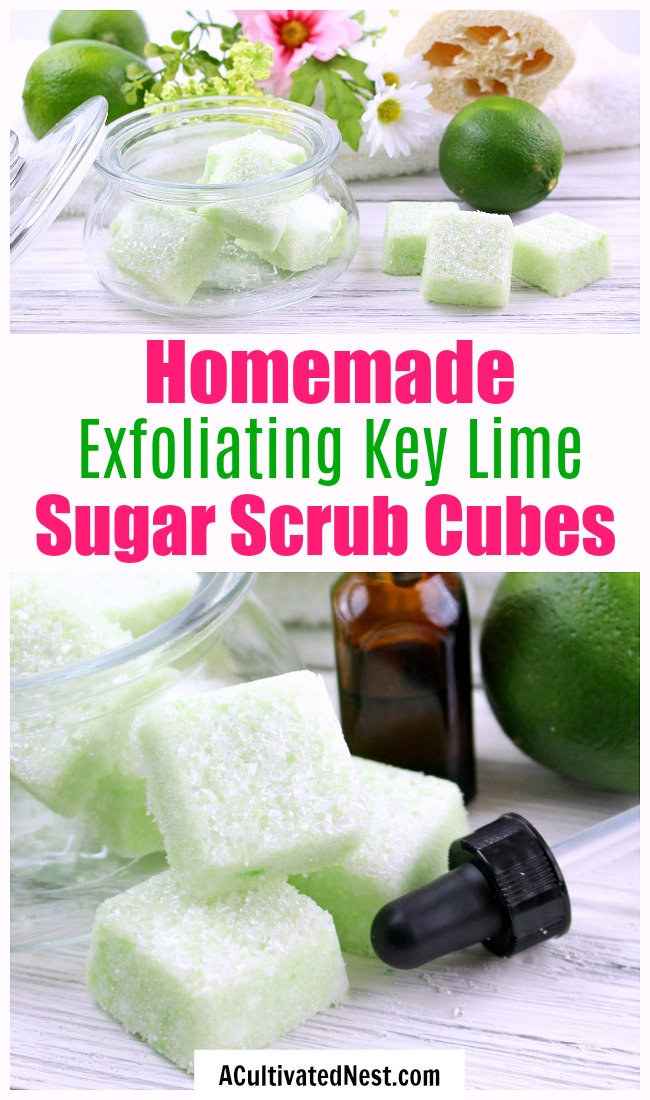 DIY Sugar Scrub Cubes: Key Lime- If you want to exfoliate your skin and make it shine, you have to make these key lime DIY sugar scrub cubes! They're so easy to make, and leave your skin looking beautiful! | sugar scrub bars, homemade body scrub, exfoliate, exfoliating, #DIY #sugarScrub #beauty #bodyScrub #diyGift #homemadeGift