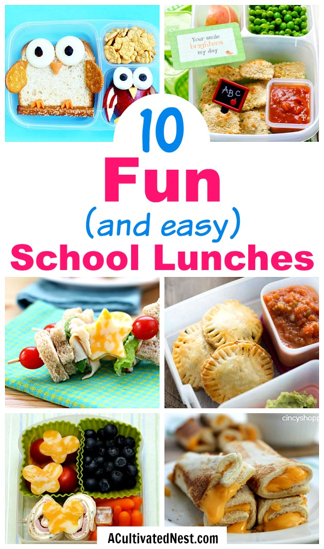 10 Easy School Lunches- Want to send the kids to school with something other than sandwiches? Check out these 10 fun (and easy) school lunch recipes for some clever ideas! | School lunch ideas that aren't sandwiches, food for kids, #backToSchool #lunch #recipe #food #schoolLunch #school