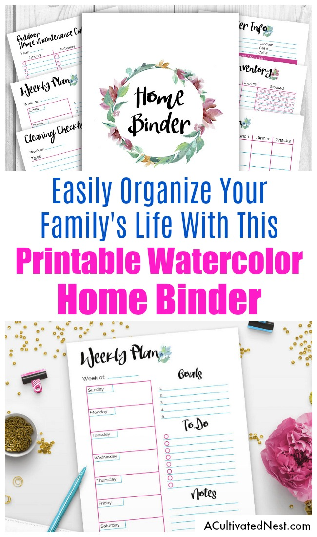 Watercolor Printable Home Management Binder- It's easy to get your family organized if you have a home binder! This pretty home management planner printable has 40+ pages decorated with beautiful watercolor flowers. With so many pages, everything you could possibly need to organize your household is right here! | printable binder, mom binder, home binder planner printables, stay at home mom, PDF planner inserts, letter size, #printable #planner #sahm #homemaking