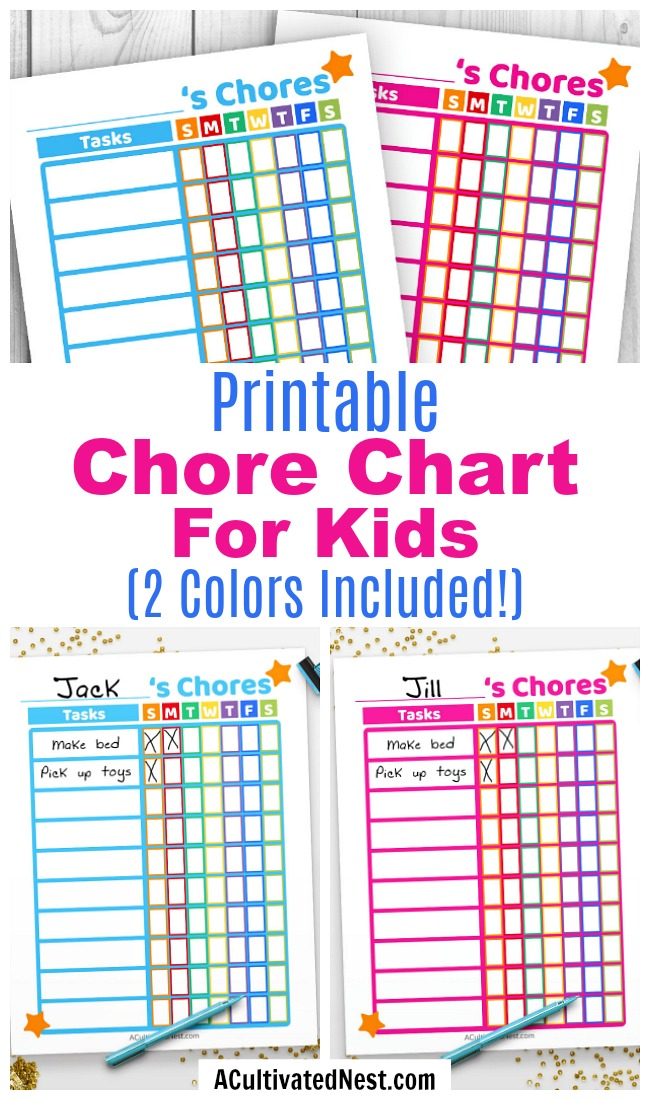 Printable Kids Chore Chart- If you want your kids to remember to do their chores, then they need this cute printable chore chart for kids! It comes in 2 fun color themes- blue and pink! | printable chore chart for kids, parenting printables, printable task list PDF, #printable #choreChart #kids #parenting #ACultivatedNest