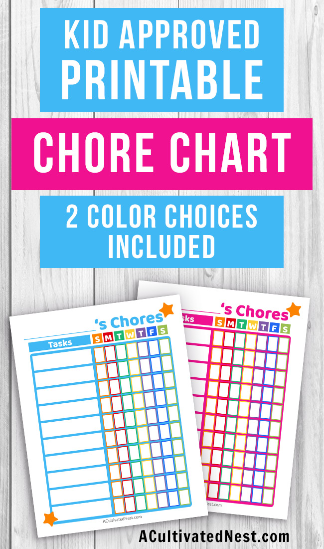 Printable Kids Chore Chart- Teach your kids responsibility and make it easier for them to help out around the home with this printable chore chart! It comes in blue and pink! | printable chore chart for kids, parenting printables, printable task list PDF, #printable #choreChart #parenting #kids #ACultivatedNest