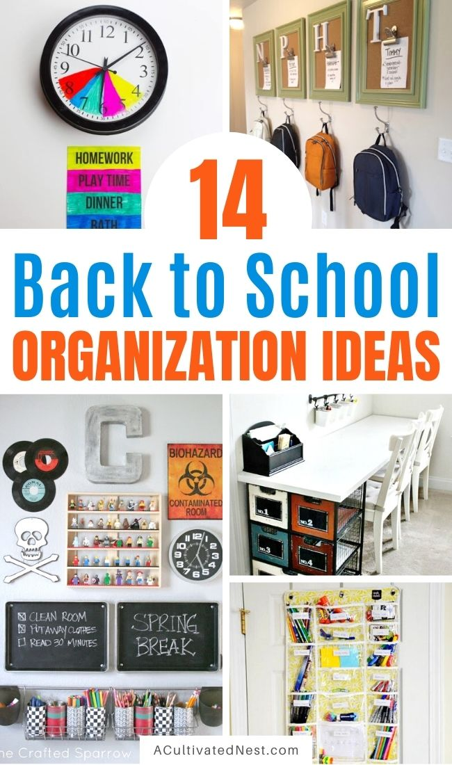 14 Useful Back to School Organization Ideas- Start the school year organized with help from these 14 clever back to school organization ideas! They include tons of great organizing tips for helping your kids and you keep everything in order during the school year! | get organized for back-to-school, homeschool room organization, homeschooling, #backToSchool #organize #organization #homeschoolRoom #ACultivatedNest