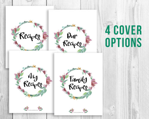 Printable Recipe Binder- Watercolor