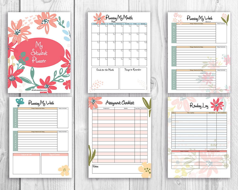 graphic about Student Planner Printable called Printable College student Planner- Floral