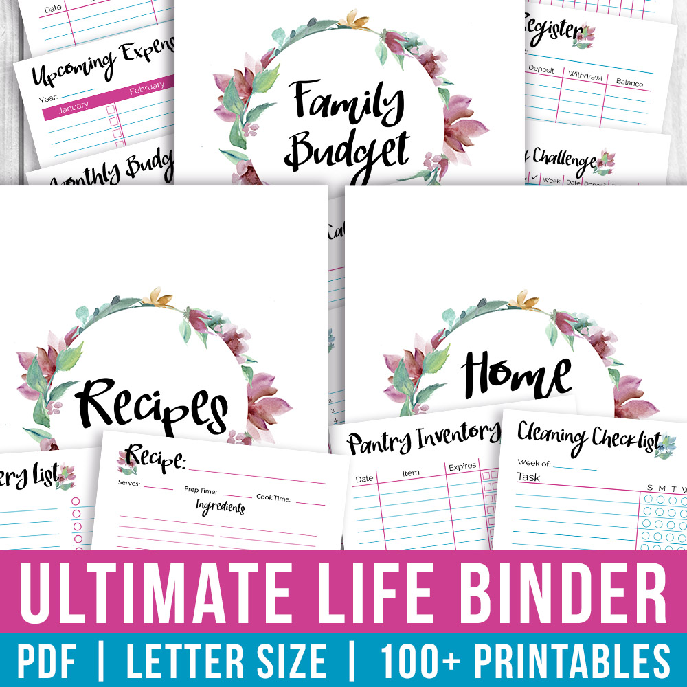 image about Life Binder Printables named Printable Final Daily life Binder- Watercolor