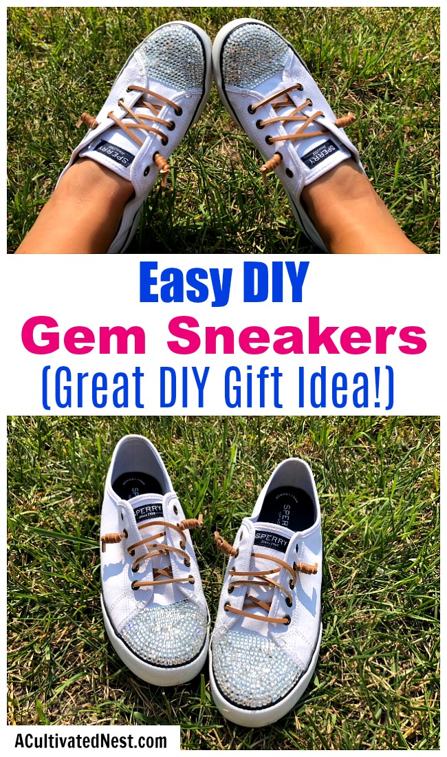 DIY Gem Shoes: How to Bedazzle Sneakers- A fun way to customize your shoes is by putting gems on them! Here is how to bedazzle shoes and make your own DIY gem sneakers! These make great homemade gifts! | add rhinestones to shoes, add gems to shoes, #DIY #bedazzle #craft #diyGift #homemade #handmade #diyProject #sneakers #shoes #homemadeGift #ACultivatedNest