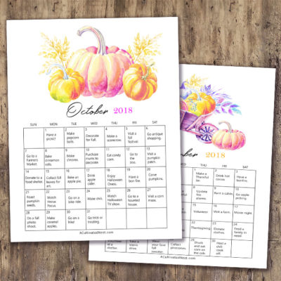 Frugal Fall Bucket List Calendar Free Printable