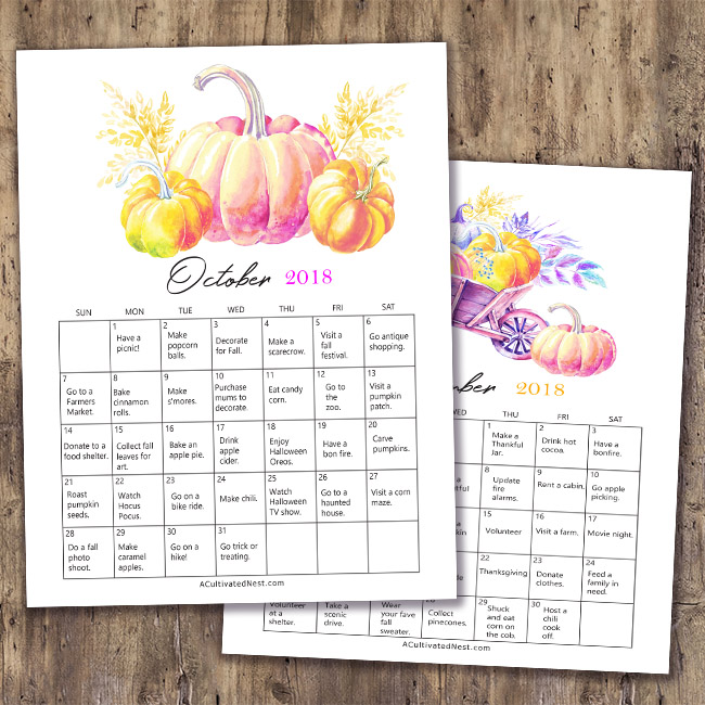 Free Printable 2018 Fall Bucket List Calendars- Fall is a short, but wonderful, season. To make the most of fall on a budget, get this frugal fall bucket list calendar free printable! | free printable 2018 calendar, #freePrintable #fall #frugalLiving #bucketList #printable #autumn #frugal #calendar #printableCalendar #freeCalendar #ACultivatedNest