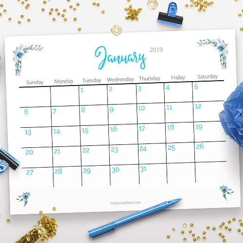photo relating to Calendars Free Printable referred to as Absolutely free Printable 2019 Calendar: Watercolor Bouquets- A