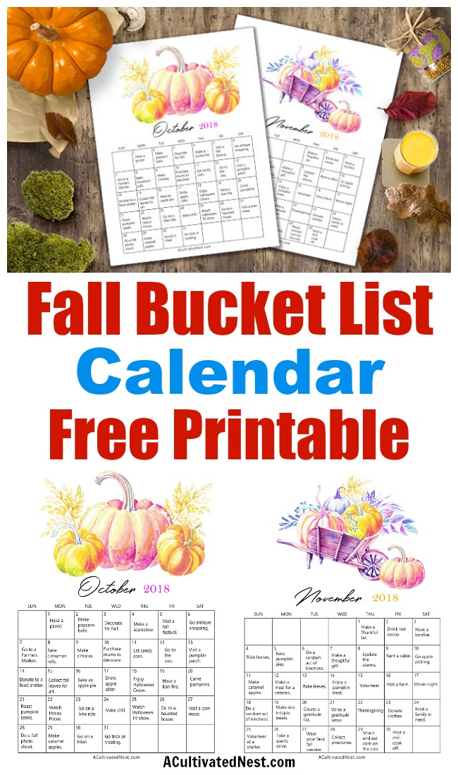 2018 Fall Bucket List Calendar Free Printables- Fall is a short, but wonderful, season. To make the most of fall on a budget, get this frugal fall bucket list calendar free printable! | free printable 2018 calendar, #freePrintable #fall #frugalLiving #bucketList #printable #autumn #frugal #calendar #printableCalendar #freeCalendar #ACultivatedNest