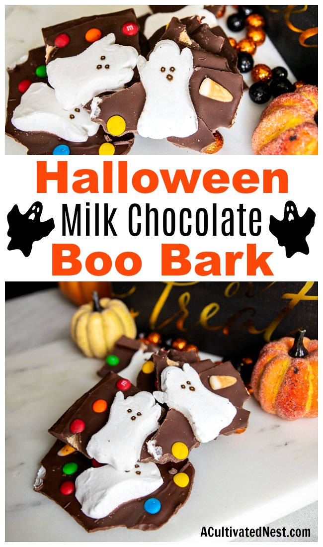 Halloween Milk Chocolate Boo Bark- It doesn't have to be hard to make a fun-looking Halloween treat. This Halloween Milk Chocolate Boo Bark is super easy to put together, and is also a great way to use up leftover Halloween candy! | chocolate bark with candy, recipes that use up extra Halloween candy, #Halloween #chocolateBark #recipe #dessert #candy #chocolate #ACultivatedNest