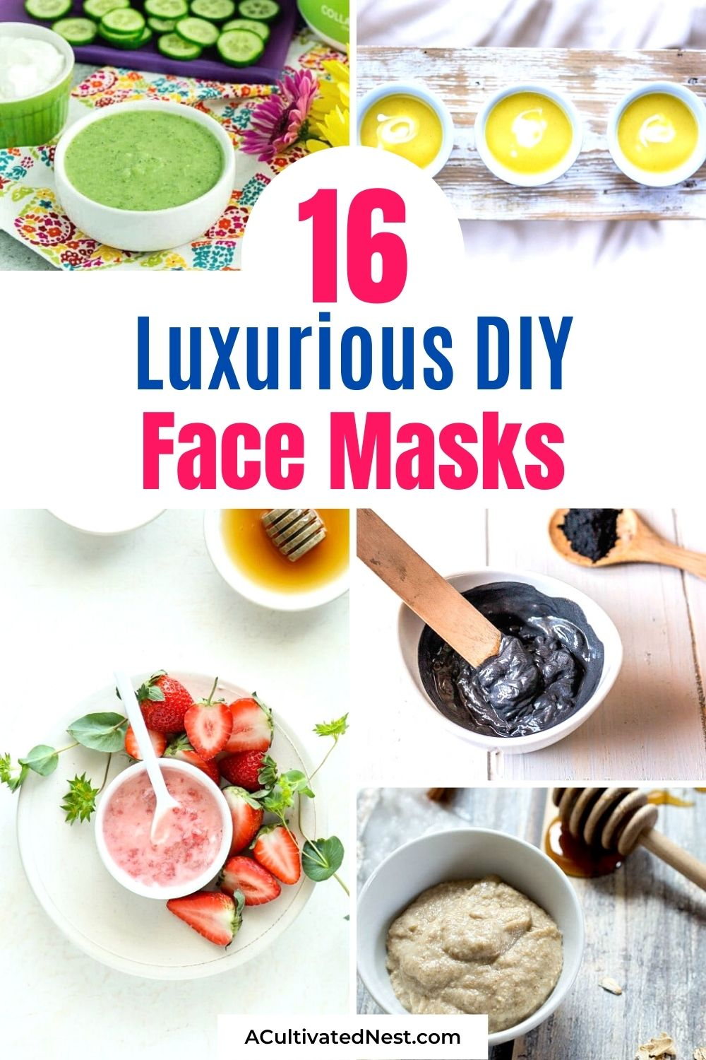 16 Luxurious Homemade Face Masks- 16 Homemade Face Masks- Relax and nourish your skin at the same time with these easy DIY face masks! These also make lovely homemade gifts!   all-natural DIY face masks, do it yourself skincare, DIY gift ideas, #faceMask #diyGift #homemadeBeautyProducts #DIY #ACultivatedNest