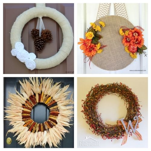 25 Festive Homemade Fall Wreath Projects- A fun way to decor your home for fall on a budget is to make one of these gorgeous DIY fall wreaths! There are so many cute ways you can style your homemade fall wreath! | how to make a wreath, fall-themed wreath, frugal fall wreath, inexpensive fall wreath, DIY fall home decor, #DIY #wreathDIY #fallDecor #diyProject #ACultivatedNest
