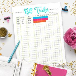 Printable Bill Tracker Worksheet- Pixels