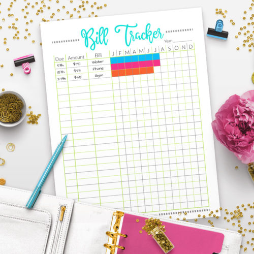 Printable Bill Tracker Worksheet- Pixels