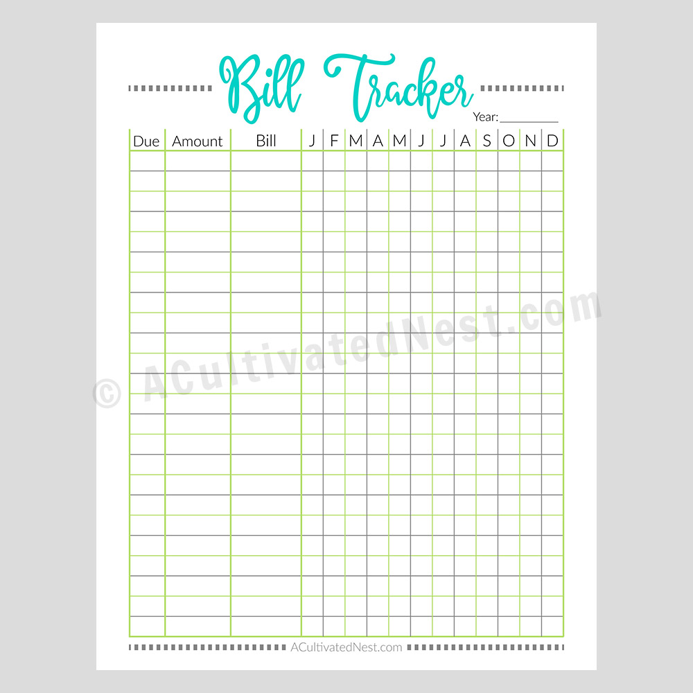 picture relating to Year in Pixels Printable identify Printable Monthly bill Tracker Worksheet- Pixels