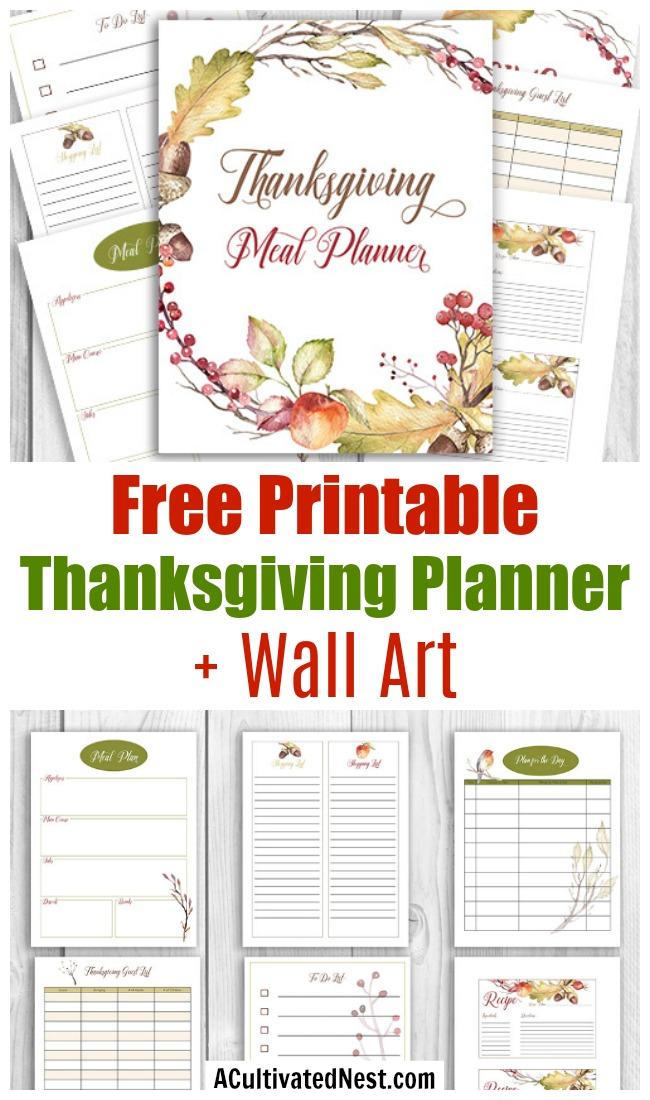 Free Printable Thanksgiving Meal Planner + Wall Art