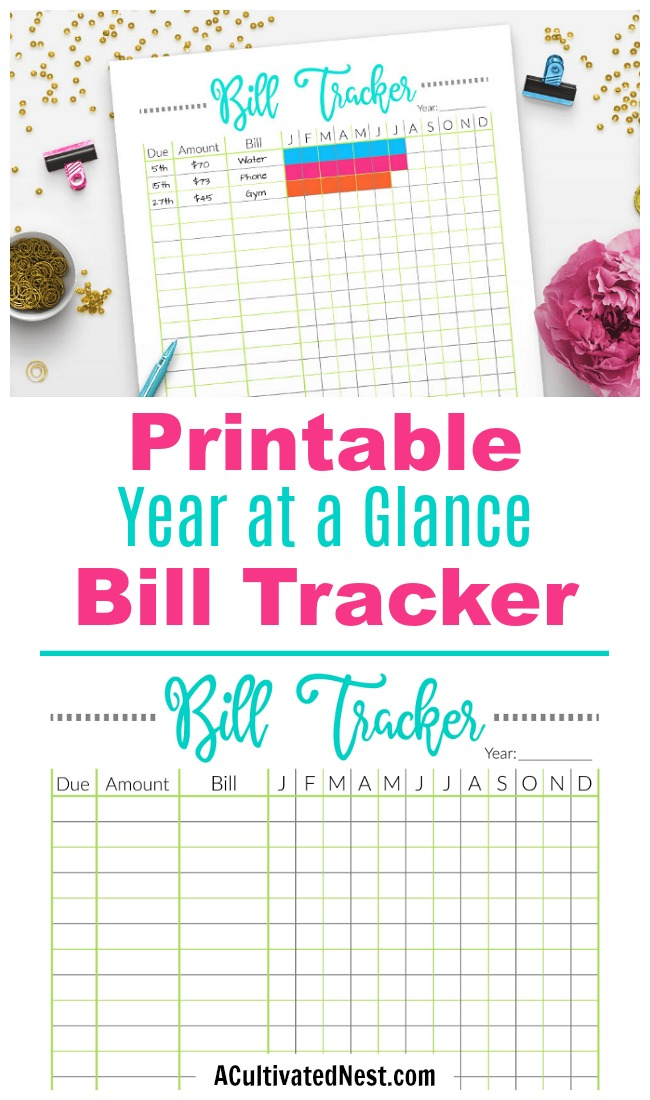 Printable Bill Tracker Worksheet- It's easy to forget about a bill and have to pay late fees. Make sure that never happens again with the help of this handy printable bill payment tracker worksheet! | personal finance, budget binder insert, budget planner, bill payment tracker, #printable #bills #ACultivatedNest