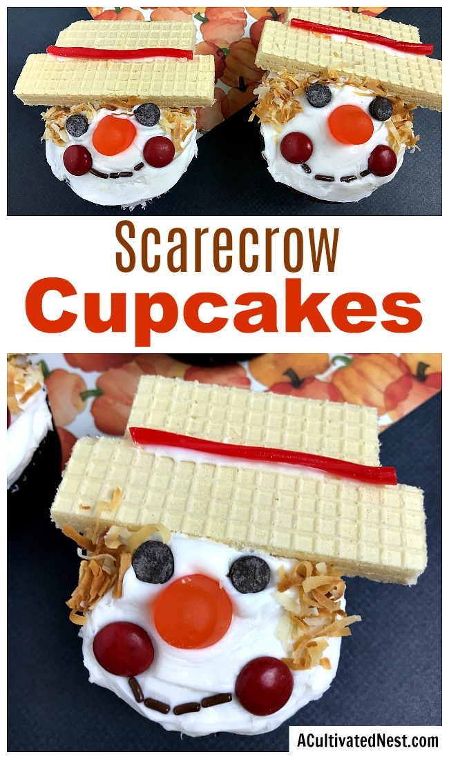 Scarecrow Cupcakes Fall Dessert- Want a fun fall dessert? Then you have to make these cute scarecrow cupcakes! They're quick to make, and fun to decorate! | recipe, autumn food, #recipe #dessert #ACultivatedNest