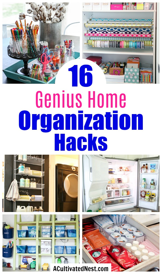 16 Genius Home Organization Hacks- It doesn't have to cost a lot to get your home organized! For some frugal organizing ideas, check out these 16 genius home organization hacks! | organize your home, small space organizing, how to organize on a budget, organizing tips, #organizing #organization #ACultivatedNest