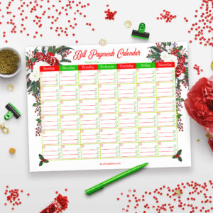 Printable Bill Payments Calendar- Holiday