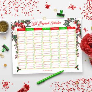 Printable Bill Payments Calendar- Holiday