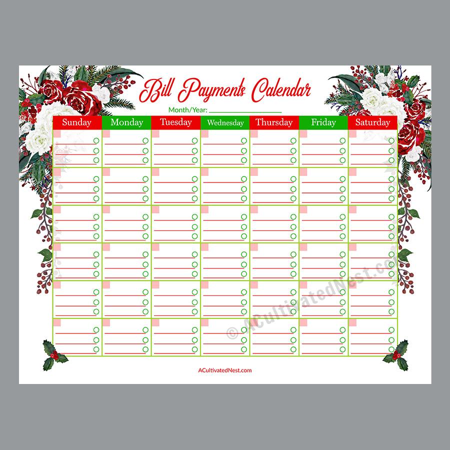 photo relating to Printable Bill Calendar named Printable Invoice Expenses Calendar- Getaway