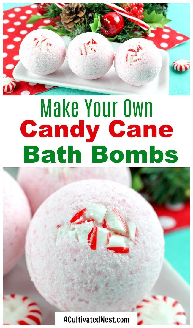 DIY Candy Cane Bath Bombs