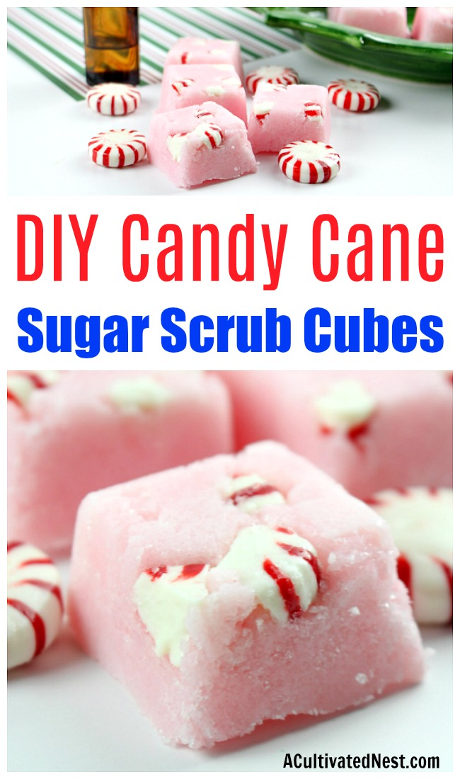 DIY Candy Cane Sugar Scrub Cubes- These DIY candy cane sugar scrub cubes make wonderful DIY Christmas gifts! They're also a great way to keep your skin looking beautiful through the winter! | body scrub, face scrub, hand scrub, homemade gift ideas, #diy #bodyScrub #ACultivatedNest