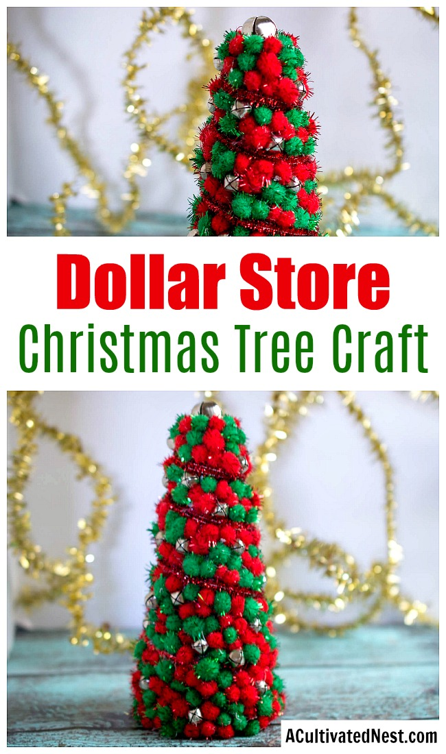 DIY Dollar Store Christmas Tree Centerpiece- You can add pretty (and inexpensive) decor to your Christmas table or mantel with this dollar store Christmas tree craft! | Christmas craft, holiday DIY, pom pom Christmas tree, dollar store craft, #DIY #dollarStore #ACultivatedNest