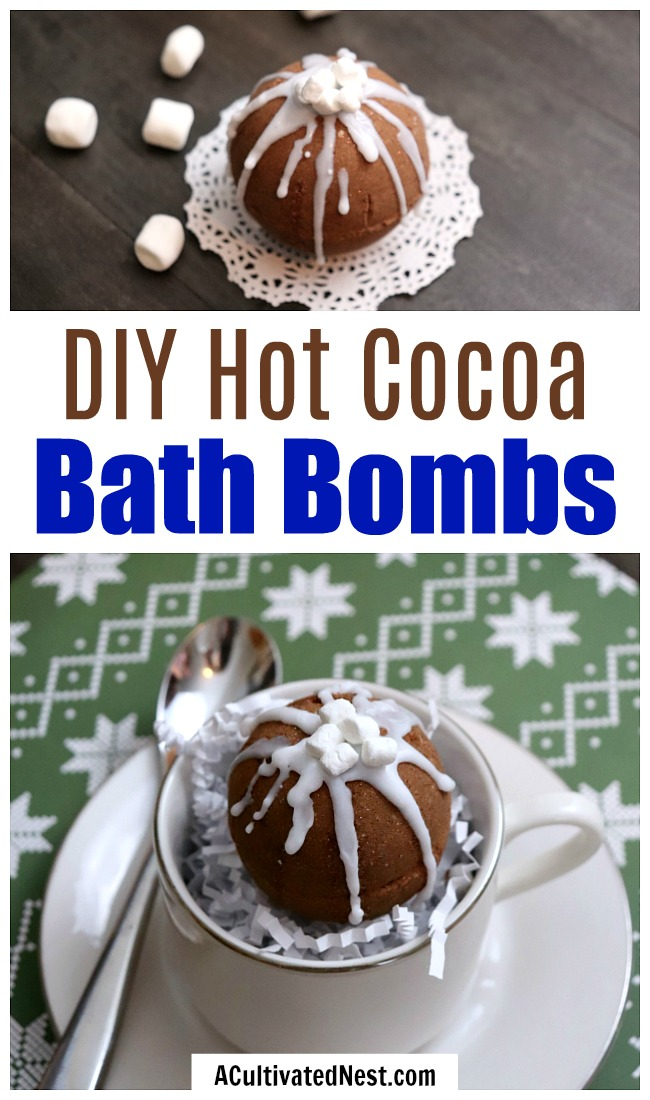 DIY Hot Cocoa Bath Bombs- These DIY hot cocoa bath bombs are a fun, festive way to relax this holiday season! These would make a wonderful homemade gift! | beauty, spa, DIY bath fizzy, hot chocolate bath bomb, #homemadeGift #bathBomb #ACultivatedNest