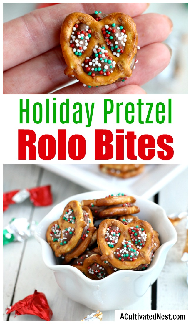 Holiday Pretzel Rolo Bites- If you need a quick and easy holiday dessert or holiday party appetizer, then you need to make these pretzel rolo bites! They're quick and easy to make, but so tasty! | easy appetizer recipe, chocolate pretzel dessert, holiday snack, Christmas, #recipe #dessert #ACultivatedNest