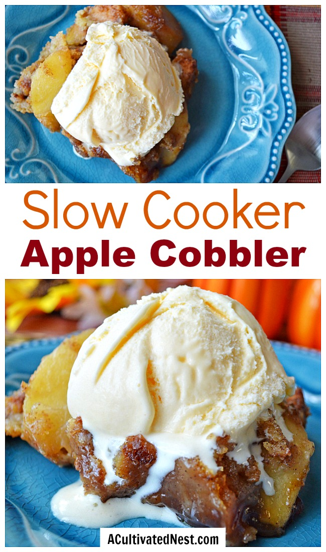 Slow Cooker Apple Cobbler- This slow cooker apple cobbler recipe will help you easily make a delicious dessert, even on your busiest days! This is perfect for fall! | fall recipes, autumn recipes, apple recipes, baking in the slow cooker, baking in the Crock-pot, #recipe #slowCooker #ACultivatedNest