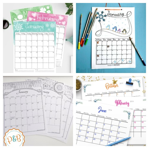 12 Free Printable Monthly Calendars for 2019- Why spend money on a calendar from the store, when you can get one of these beautiful free printable 2019 calendars! There are so many to choose from! | 2019 monthly calendar printables to download, coloring calendars, calendars for kids, #freePrintable #calendars #ACultivatedNest