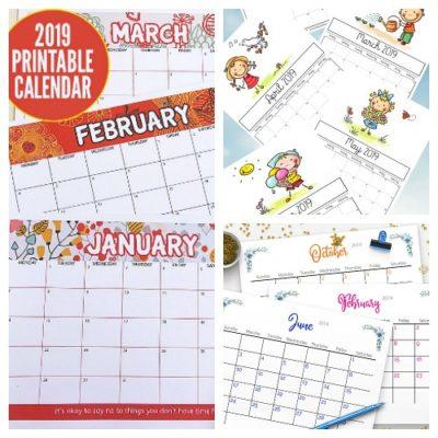 12 Free Printable 2019 Calendars