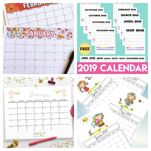 12 Free 2019 Printable Calendars- Why spend money on a calendar from the store, when you can get one of these beautiful free printable 2019 calendars! There are so many to choose from! | 2019 monthly calendar printables to download, coloring calendars, calendars for kids, #freePrintable #calendars #ACultivatedNest