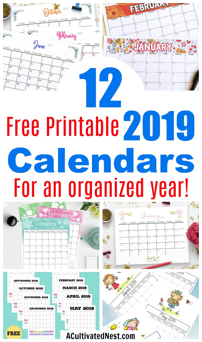 12 Free Printable 2019 Calendars- Tired of boring store-bough calendars? Get the perfect calendar for 2019 from this collection of 12 free printable 2019 calendars! There are so many to choose from! | 2019 monthly calendar printables to download, coloring calendars, calendars for kids, #freePrintables #2019calendars #ACultivatedNest