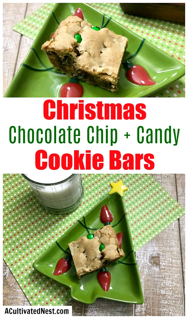 Chocolate Chip Christmas Cookie Bars- An easy way to make a big holiday dessert to feed a crowd is to make these delicious chocolate chip Christmas cookie bars! They would also make a great food gift! | easy dessert recipe, homemade food gift idea, holiday baking recipes, #Christmas #recipe #ACultivatedNest