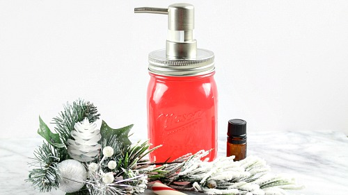 Peppermint DIY Foaming Hand Wash- It's easy to make your own all-natural foaming hand soap! Here is how I made this fun and festive peppermint DIY foaming hand wash! | homemade liquid soap, DIY hand soap, make your won soap, Christmas soap, #DIY #frugalLiving #ACultivatedNest