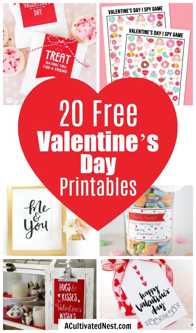 20 Adorable Valentine's Day Free Printables- If you want to decorate your home or decorate a gift for Valentine's Day, this collection of free printables has everything you could need! | Valentine's Day gift tags, Valentine's labels, Galentine's Day, Valentine's tags for kids, #freePrintables #Valentines #ACultivatedNest
