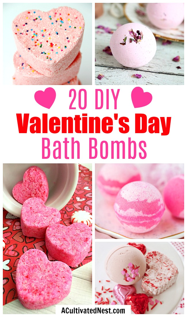 20 DIY Valentine's Day Bath Bombs- These DIY Valentine's Day bath bombs make easy (and beautiful) DIY gifts! If you want a homemade gift for your special someone, give some of these a try! | homemade bath fizzy, love themed bath bombs, DIY heart shaped bath bombs, #ValentinesDay #diyGift #ACultivatedNest