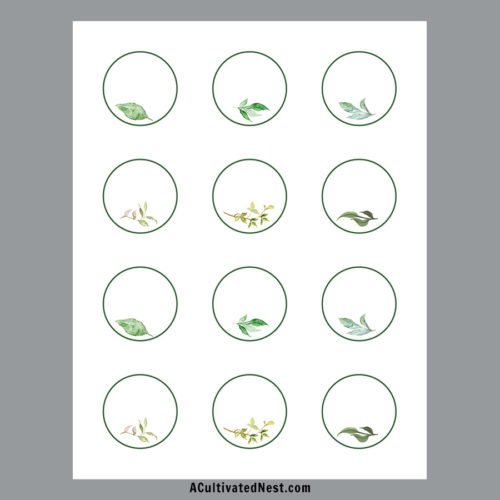 Printable Round Labels- Blank: Greenery