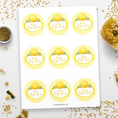 Printable Sugar Scrub Labels- Lemon