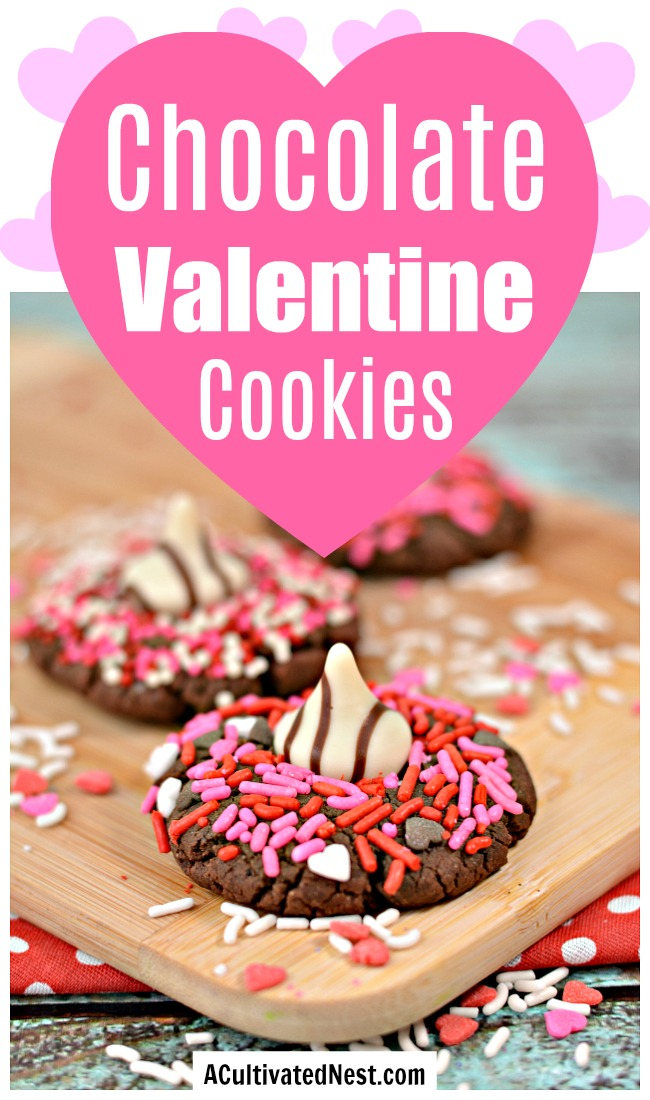 Chocolate Hershey Hug Valentine Cookies- If you want an easy and delicious dessert recipe for Valentine's Day, then you have to try these chocolate Hershey hug Valentine cookies! | Valentine's cookies, Valentine's treats, baking, easy recipes, love themed cookies, romance cookies, hearts, #ValentinesDay #recipe #ACultivatedNest
