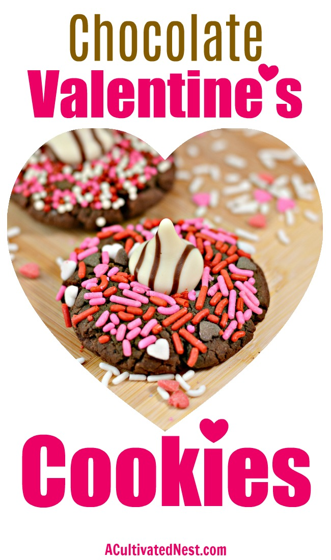 Chocolate Hershey Hug Valentine Cookies- These chocolate Hershey hug Valentine cookies are the perfect dessert recipe for Valentine's Day! They're delicious, and easy to make! | Valentine's cookies, Valentine's treats, baking, easy recipes, love themed cookies, romance cookies, hearts, #ValentinesDay #cookies #ACultivatedNest