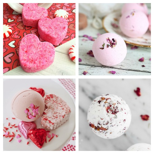 20 Valentine's Day DIY Bath Bombs- These DIY Valentine's Day bath bombs make easy (and beautiful) DIY gifts! If you want a homemade gift for your special someone, give some of these a try! | homemade bath fizzy, love themed bath bombs, DIY heart shaped bath bombs, #ValentinesDay #diyGift #ACultivatedNest