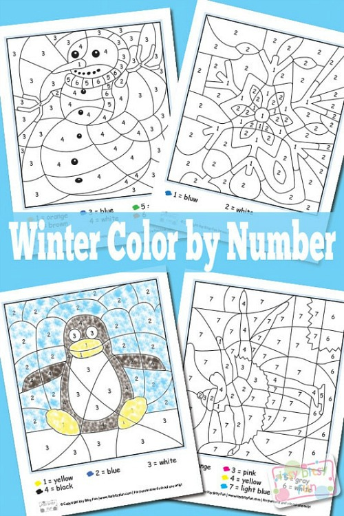 Winter Color by Number Printables- These winter kids crafts, free printables, and activities are easy (and inexpensive) ways to keep the kids busy during the winter! A lot of fun learning activities are also included! | kids crafts, kids activities, winter themed kids crafts, snowman kids activities, color by number, snowman slime, homeschooling printables, winter learning activities for kids #freePrintables #kidsActivities #ACultivatedNest