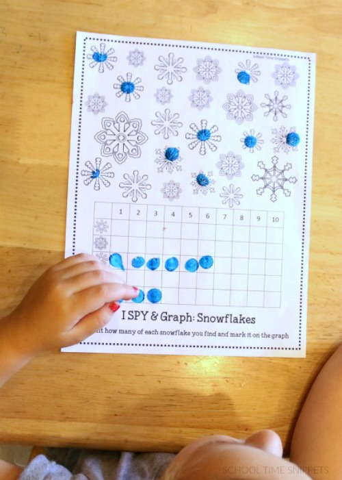 Count and Graph Snowflakes Printable- These winter kids crafts, free printables, and activities are easy (and inexpensive) ways to keep the kids busy during the winter! A lot of fun learning activities are also included! | kids crafts, kids activities, winter themed kids crafts, snowman kids activities, color by number, snowman slime, homeschooling printables, winter learning activities for kids #freePrintables #kidsActivities #ACultivatedNest